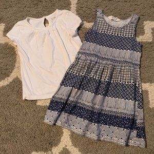 3T and 2-4y white Gap top and H&M dress blue Girls
